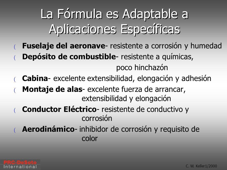 C. W. Keller1/2000 La Fórmula es Adaptable a Aplicaciones Específicas ( Fuselaje del aeronave- resistente a corrosión y humedad ( Depósito de combusti