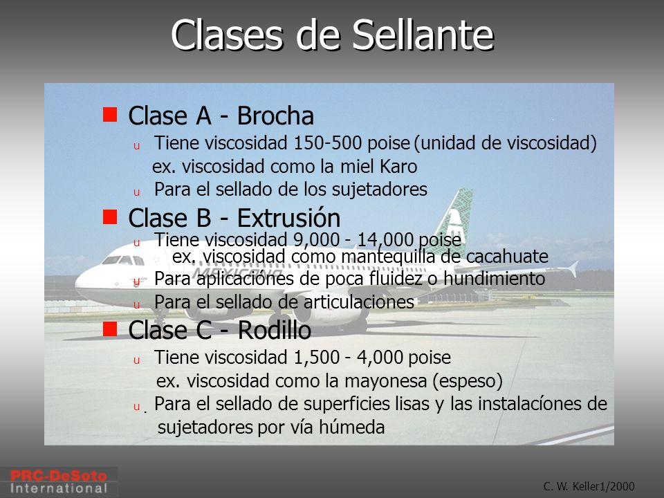 C. W. Keller1/2000 Clases de Sellante Clase A - Brocha u Tiene viscosidad 150-500 poise (unidad de viscosidad) ex. viscosidad como la miel Karo u Para