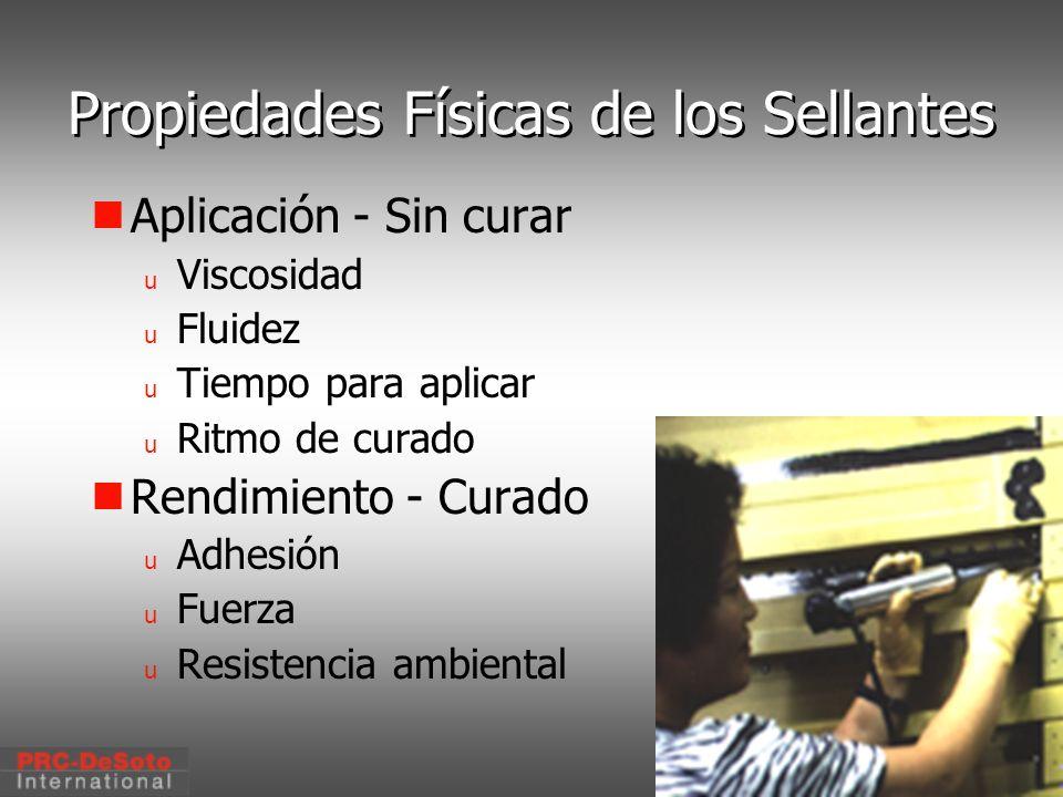 C. W. Keller1/2000 Propiedades Físicas de los Sellantes Aplicación - Sin curar u Viscosidad u Fluidez u Tiempo para aplicar u Ritmo de curado Rendimie