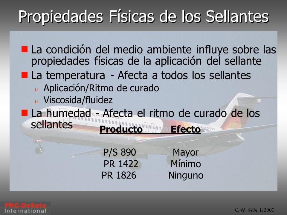 C. W. Keller1/2000 Propiedades Físicas de los Sellantes La condición del medio ambiente influye sobre las propiedades físicas de la aplicación del sel