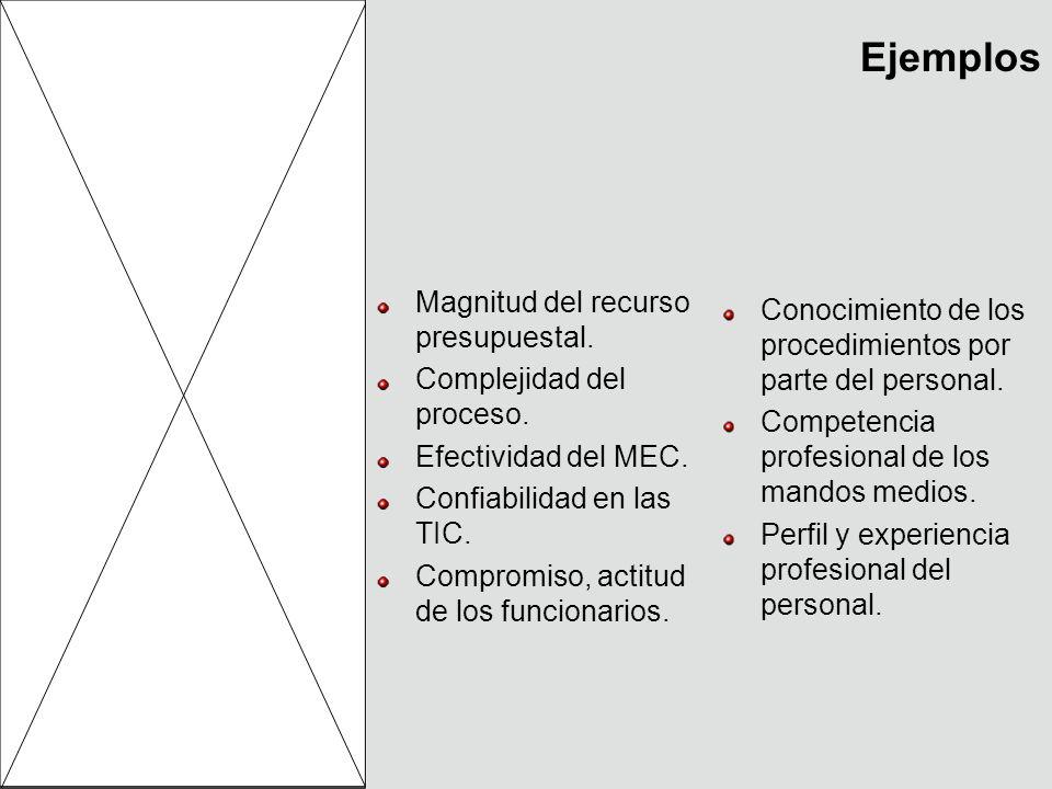 Ejemplos Magnitud del recurso presupuestal. Complejidad del proceso. Efectividad del MEC. Confiabilidad en las TIC. Compromiso, actitud de los funcion