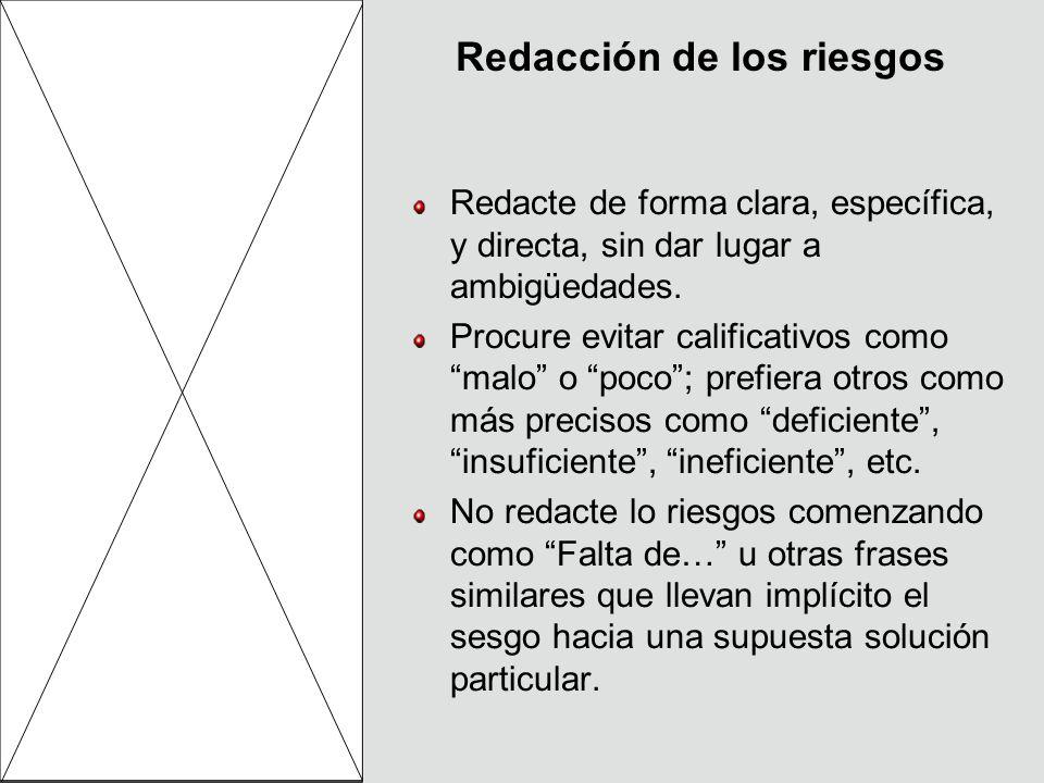 Redacción de los riesgos Redacte de forma clara, específica, y directa, sin dar lugar a ambigüedades. Procure evitar calificativos como malo o poco; p