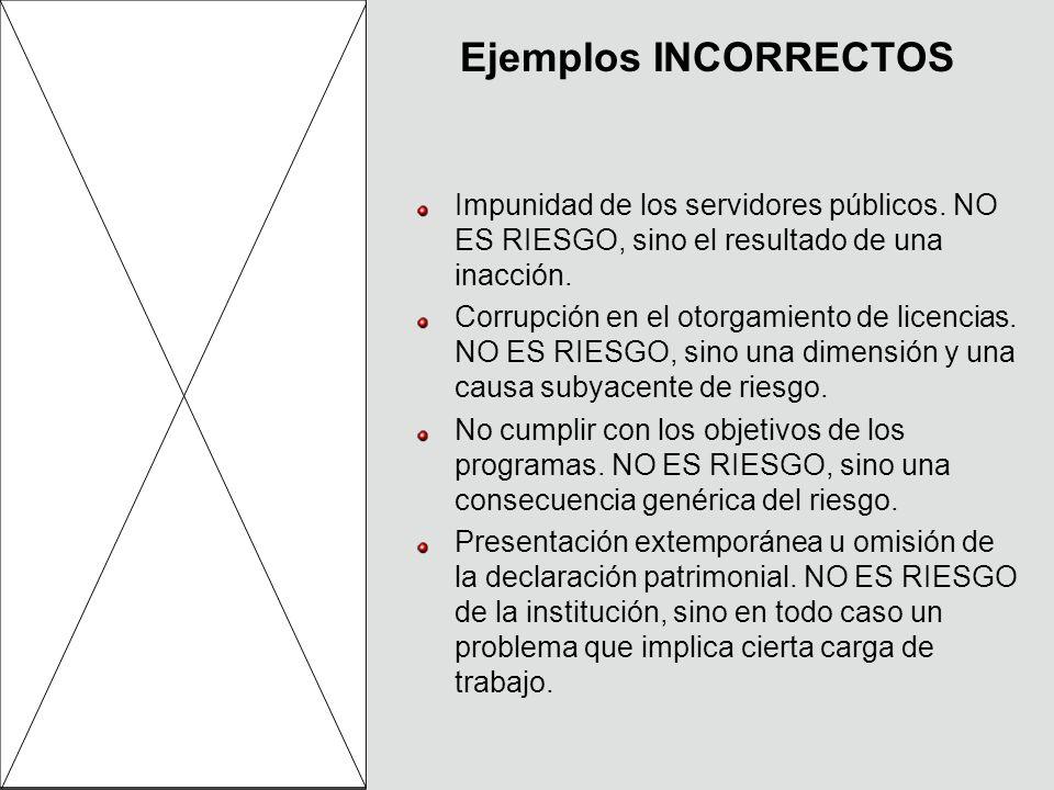 Ejemplos INCORRECTOS Impunidad de los servidores públicos.