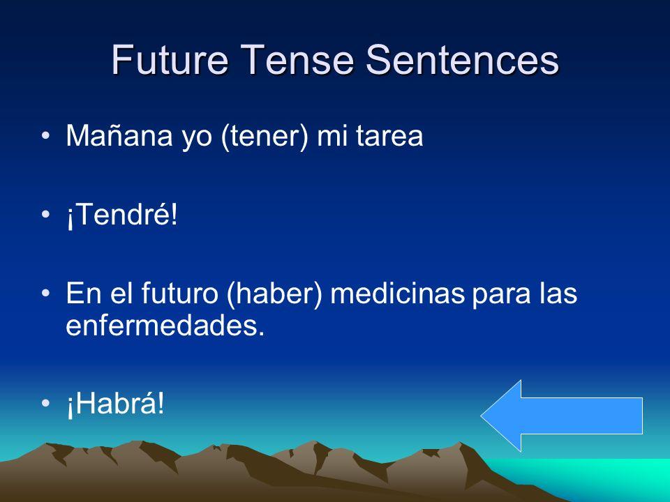 Future Tense Sentences Mañana yo (tener) mi tarea ¡Tendré.