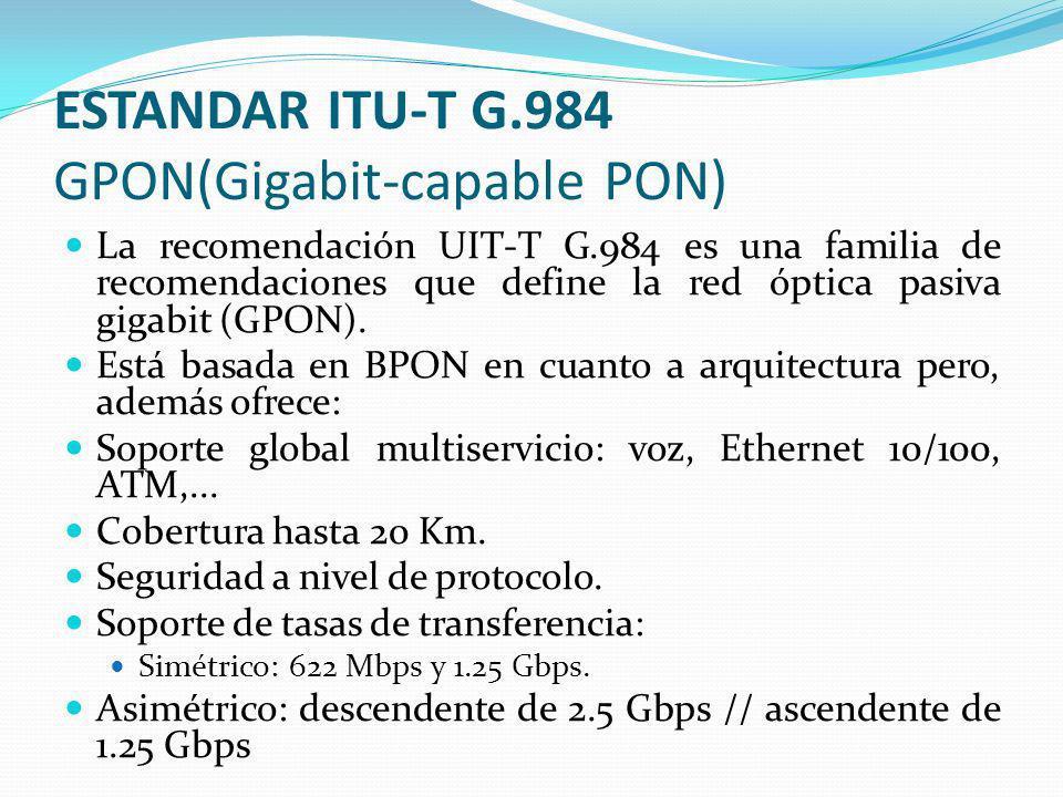 ESTANDAR ITU-T G.984 GPON(Gigabit-capable PON) La recomendación UIT-T G.984 es una familia de recomendaciones que define la red óptica pasiva gigabit