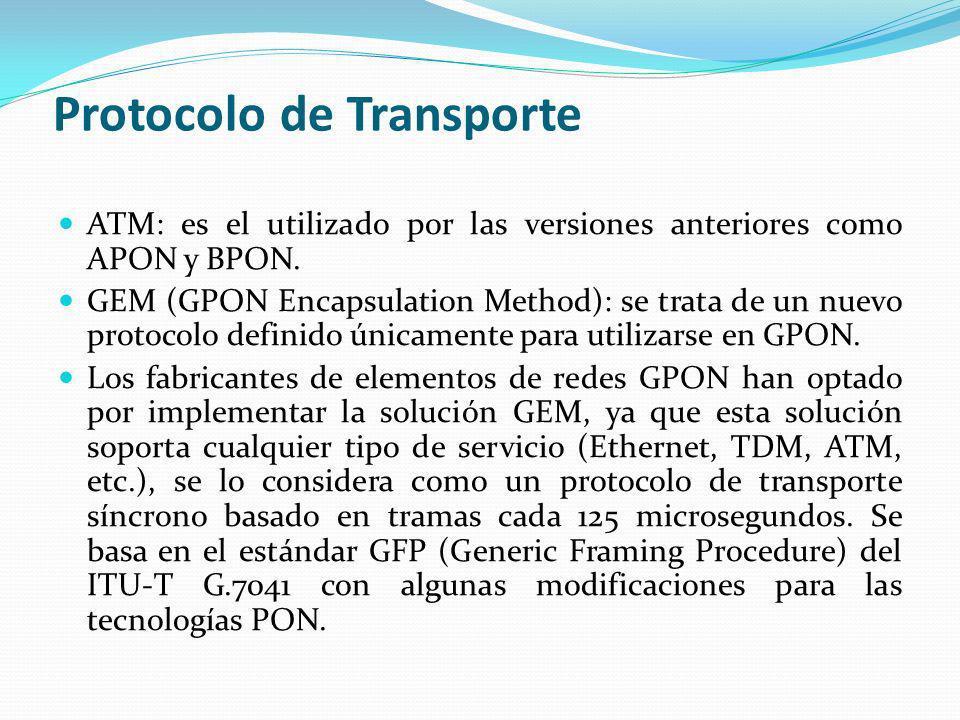 Protocolo de Transporte ATM: es el utilizado por las versiones anteriores como APON y BPON. GEM (GPON Encapsulation Method): se trata de un nuevo prot