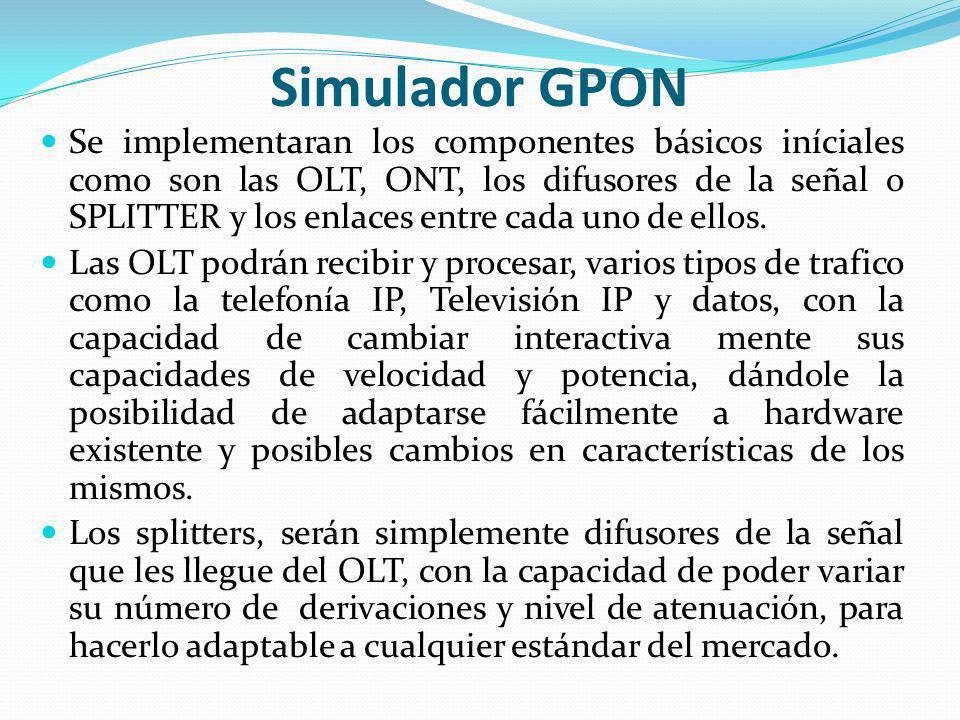 Simulador GPON Se implementaran los componentes básicos iníciales como son las OLT, ONT, los difusores de la señal o SPLITTER y los enlaces entre cada