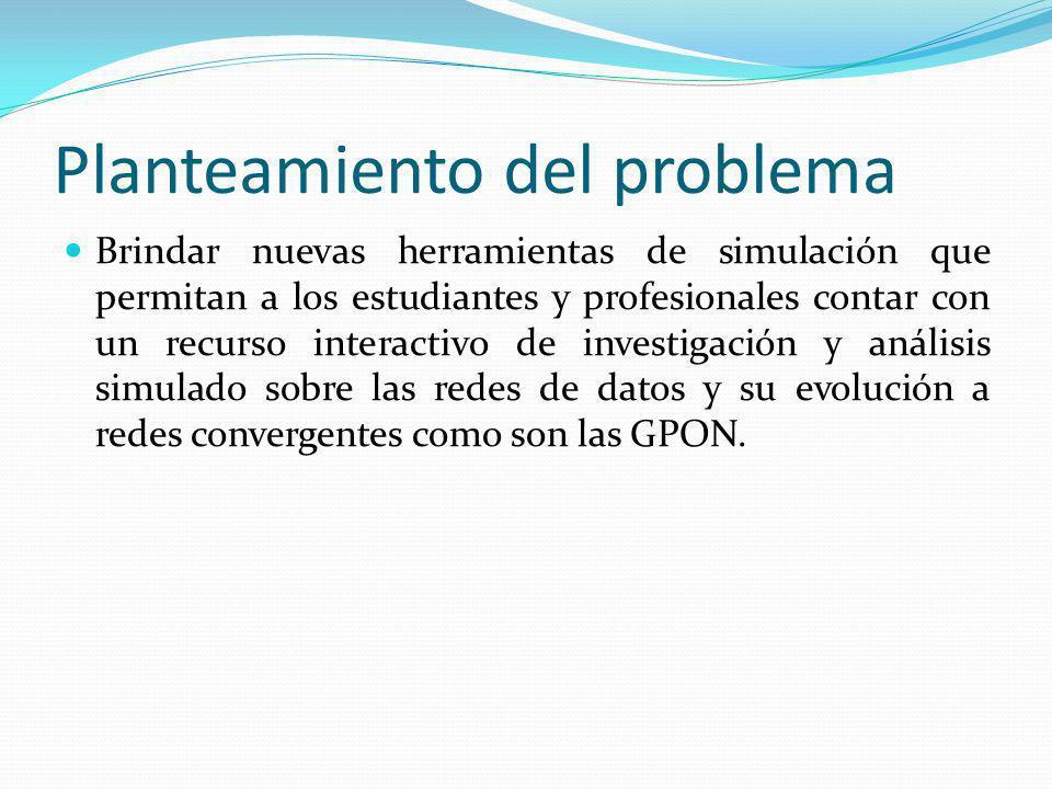 Simulador GPON Alcance del Proyecto Basados en el simulador OpenSimMPLS, de código libre, y bajo el aporte de su autor se reutilizara el código de su simulador para adaptarlo a un simulador capas de permitir el diseño y la presentación de resultados de una red GPON utilizando los estándares de referencia de la UIT -T G.984, mediante el método de encapsulado GEM(GPON Encapsulation Method).