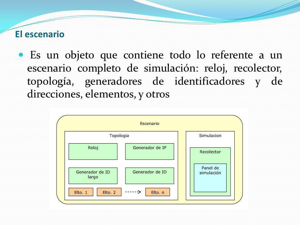 El escenario Es un objeto que contiene todo lo referente a un escenario completo de simulación: reloj, recolector, topología, generadores de identific