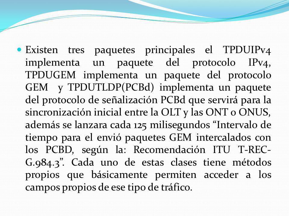 Existen tres paquetes principales el TPDUIPv4 implementa un paquete del protocolo IPv4, TPDUGEM implementa un paquete del protocolo GEM y TPDUTLDP(PCB