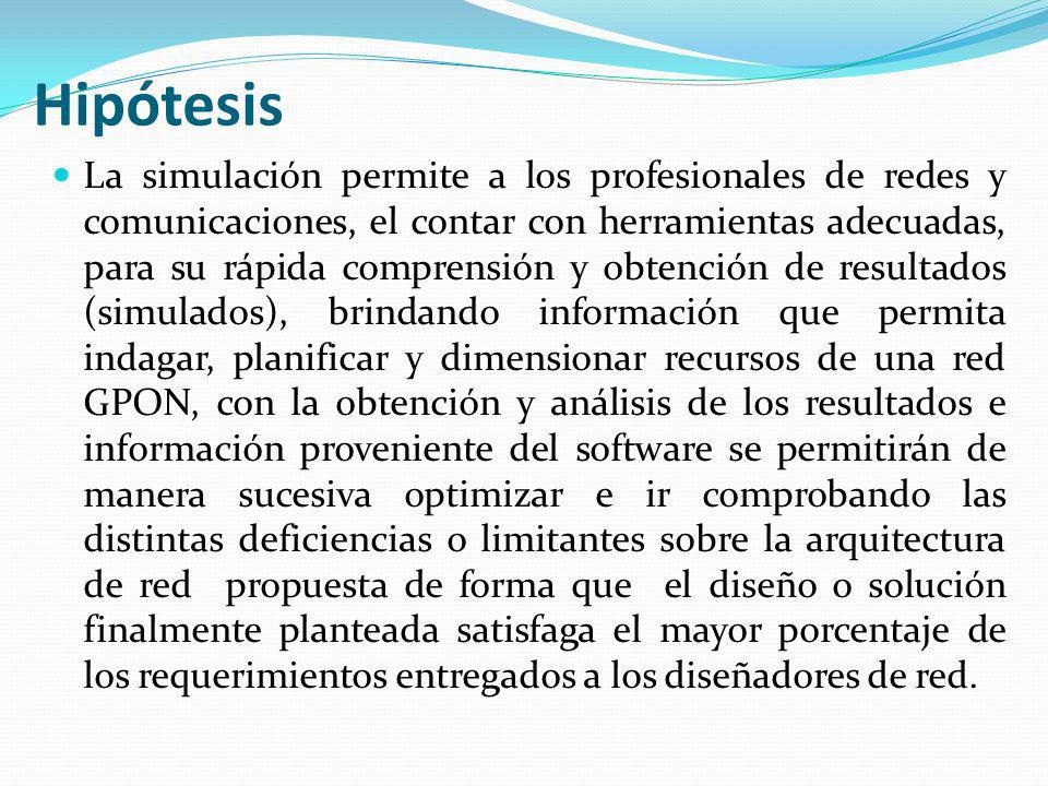Hipótesis La simulación permite a los profesionales de redes y comunicaciones, el contar con herramientas adecuadas, para su rápida comprensión y obte