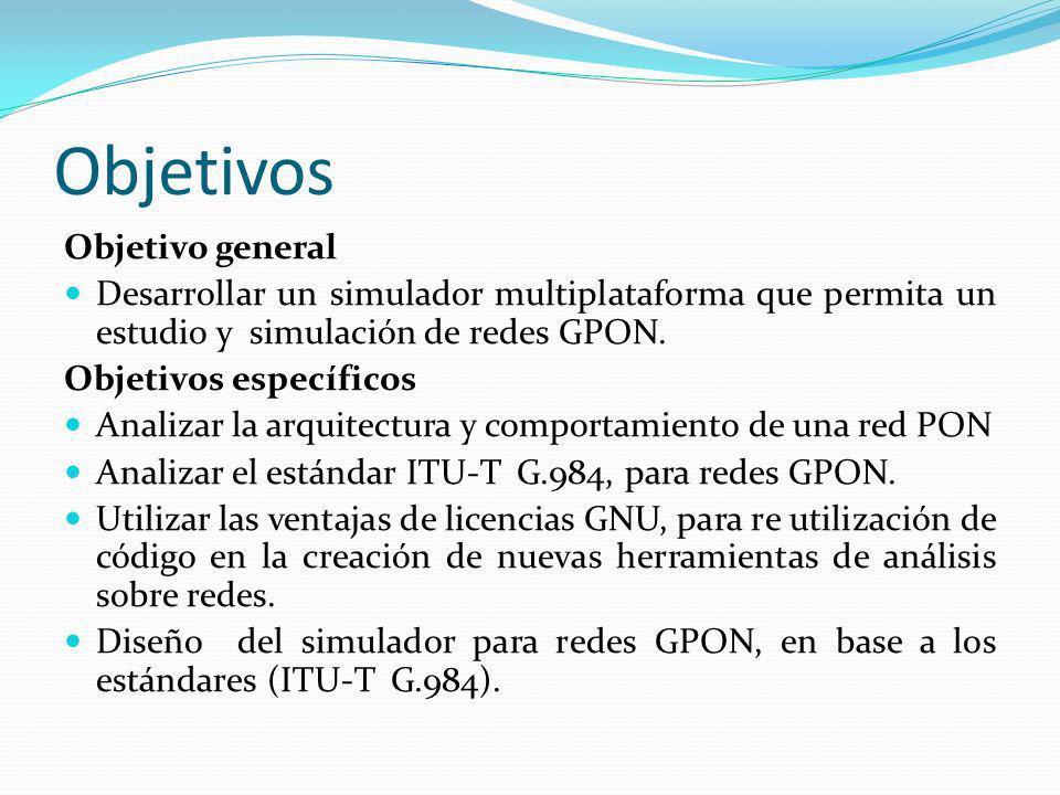 Objetivos Objetivo general Desarrollar un simulador multiplataforma que permita un estudio y simulación de redes GPON. Objetivos específicos Analizar