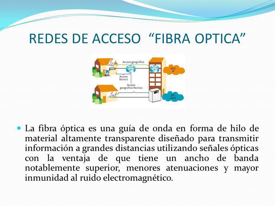 Red de acceso de Fibra hasta el punto de terminación (FTTx) La red de fibra óptica no siempre está constituida únicamente de fibra óptica dependiendo del punto de terminación de esta recibe alguno de los siguientes nombres Fiber to the Home FTTH (Fibra hasta el hogar) Fiber To The Curb FTTC (Fibra hasta la acera) Fiber To The Building (Fibra hasta el edificio) Fiber To The Desk (Fibra hasta el escritorio)