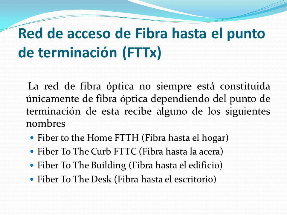 Red de acceso de Fibra hasta el punto de terminación (FTTx) La red de fibra óptica no siempre está constituida únicamente de fibra óptica dependiendo