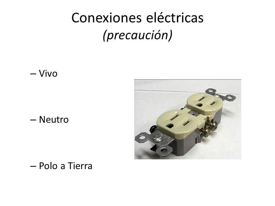 Conexiones eléctricas (precaución) – Vivo – Neutro – Polo a Tierra