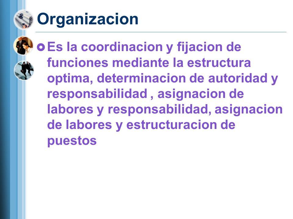 Organizacion Es la coordinacion y fijacion de funciones mediante la estructura optima, determinacion de autoridad y responsabilidad, asignacion de lab