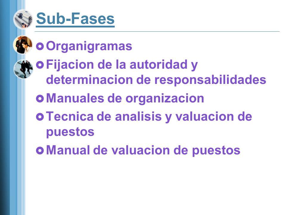 Sub-Fases Organigramas Fijacion de la autoridad y determinacion de responsabilidades Manuales de organizacion Tecnica de analisis y valuacion de puest