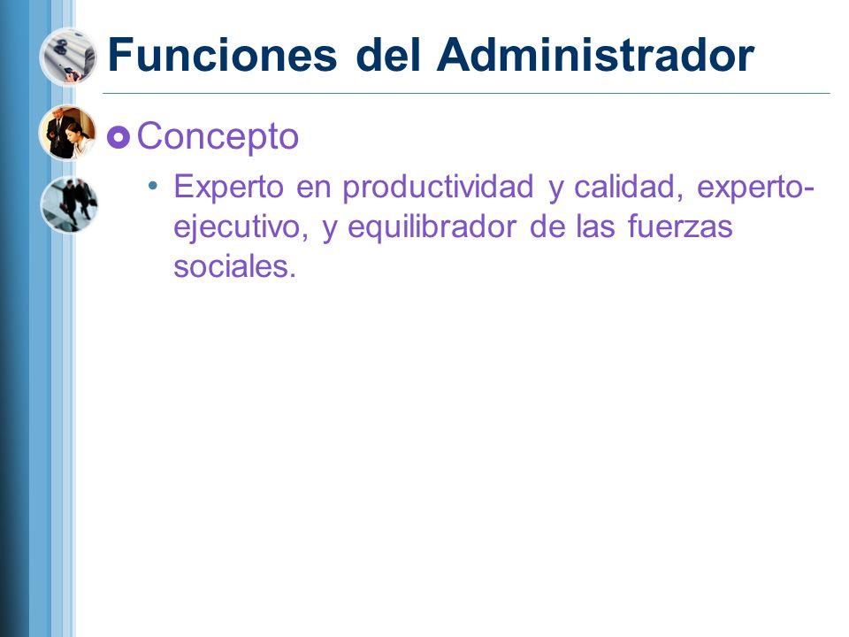 Funciones del Administrador Concepto Experto en productividad y calidad, experto- ejecutivo, y equilibrador de las fuerzas sociales.