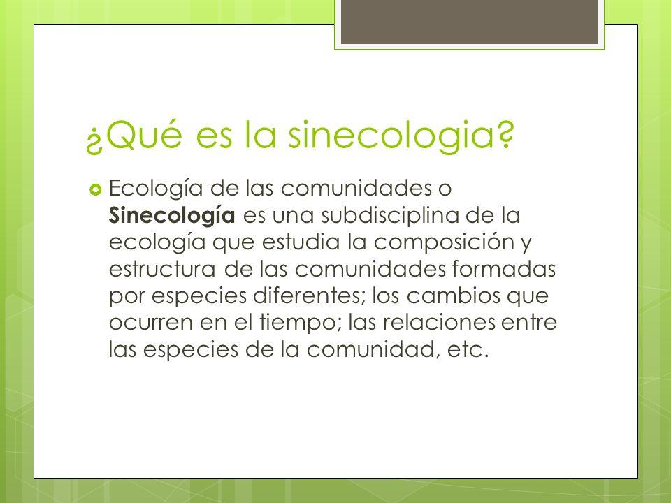 ¿Qué es la sinecologia? Ecología de las comunidades o Sinecología es una subdisciplina de la ecología que estudia la composición y estructura de las c