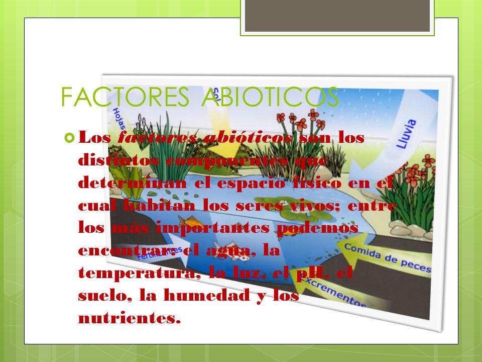 FACTORES ABIOTICOS Los factores abióticos son los distintos componentes que determinan el espacio físico en el cual habitan los seres vivos; entre los