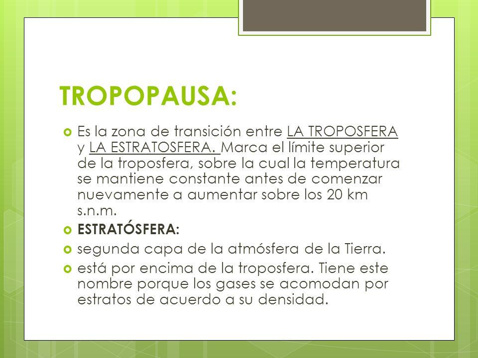 TROPOPAUSA: Es la zona de transición entre LA TROPOSFERA y LA ESTRATOSFERA. Marca el límite superior de la troposfera, sobre la cual la temperatura se