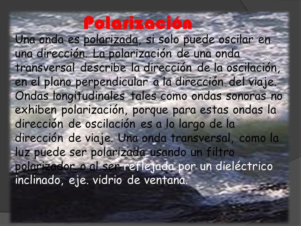 Polarización Una onda es polarizada, si solo puede oscilar en una dirección. La polarización de una onda transversal describe la dirección de la oscil