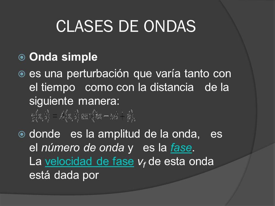 CLASES DE ONDAS Onda simple es una perturbación que varía tanto con el tiempo como con la distancia de la siguiente manera: donde es la amplitud de la