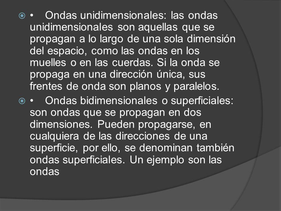 Ondas unidimensionales: las ondas unidimensionales son aquellas que se propagan a lo largo de una sola dimensión del espacio, como las ondas en los mu