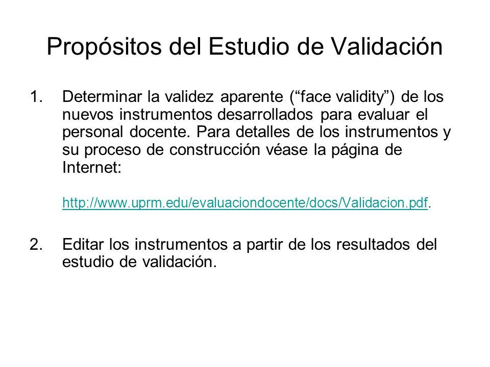 Propósitos del Estudio de Validación 1.Determinar la validez aparente (face validity) de los nuevos instrumentos desarrollados para evaluar el personal docente.