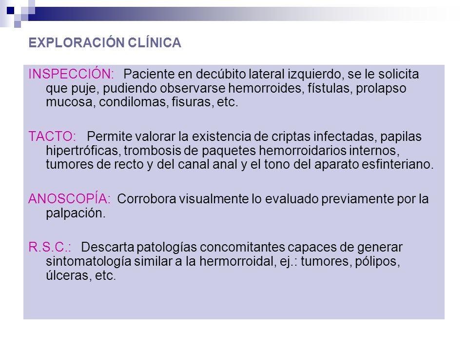 EXPLORACIÓN CLÍNICA INSPECCIÓN: Paciente en decúbito lateral izquierdo, se le solicita que puje, pudiendo observarse hemorroides, fístulas, prolapso mucosa, condilomas, fisuras, etc.