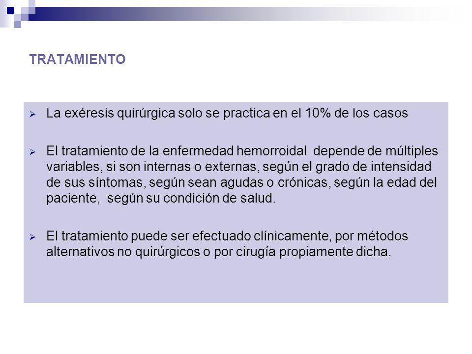 TRATAMIENTO La exéresis quirúrgica solo se practica en el 10% de los casos El tratamiento de la enfermedad hemorroidal depende de múltiples variables,