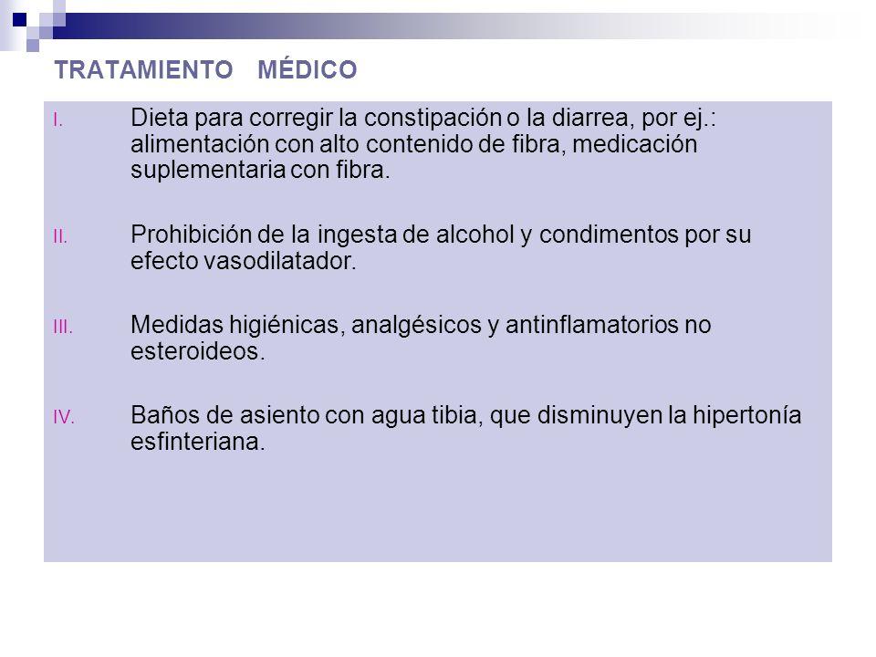 TRATAMIENTO MÉDICO I. Dieta para corregir la constipación o la diarrea, por ej.: alimentación con alto contenido de fibra, medicación suplementaria co