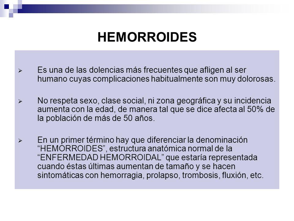 HEMORROIDES Es una de las dolencias más frecuentes que afligen al ser humano cuyas complicaciones habitualmente son muy dolorosas. No respeta sexo, cl