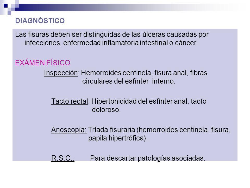 DIAGNÓSTICO Las fisuras deben ser distinguidas de las úlceras causadas por infecciones, enfermedad inflamatoria intestinal o cáncer. EXÁMEN FÍSICO Ins