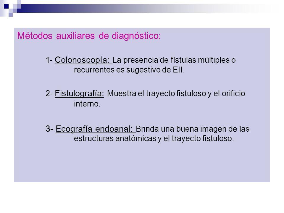 Métodos auxiliares de diagnóstico: 1- Colonoscopía: La presencia de fístulas múltiples o recurrentes es sugestivo de EII. 2- Fistulografía: Muestra el