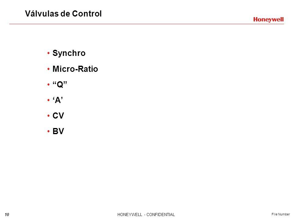 10HONEYWELL - CONFIDENTIAL File Number Válvulas de Control Synchro Micro-Ratio Q A CV BV