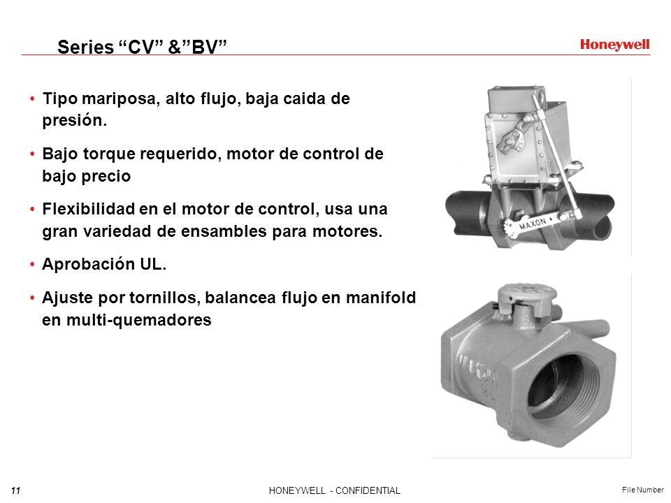 11HONEYWELL - CONFIDENTIAL File Number Series CV &BV Tipo mariposa, alto flujo, baja caida de presión. Bajo torque requerido, motor de control de bajo