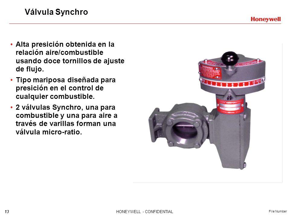 13HONEYWELL - CONFIDENTIAL File Number Válvula Synchro Alta presición obtenida en la relación aire/combustible usando doce tornillos de ajuste de fluj