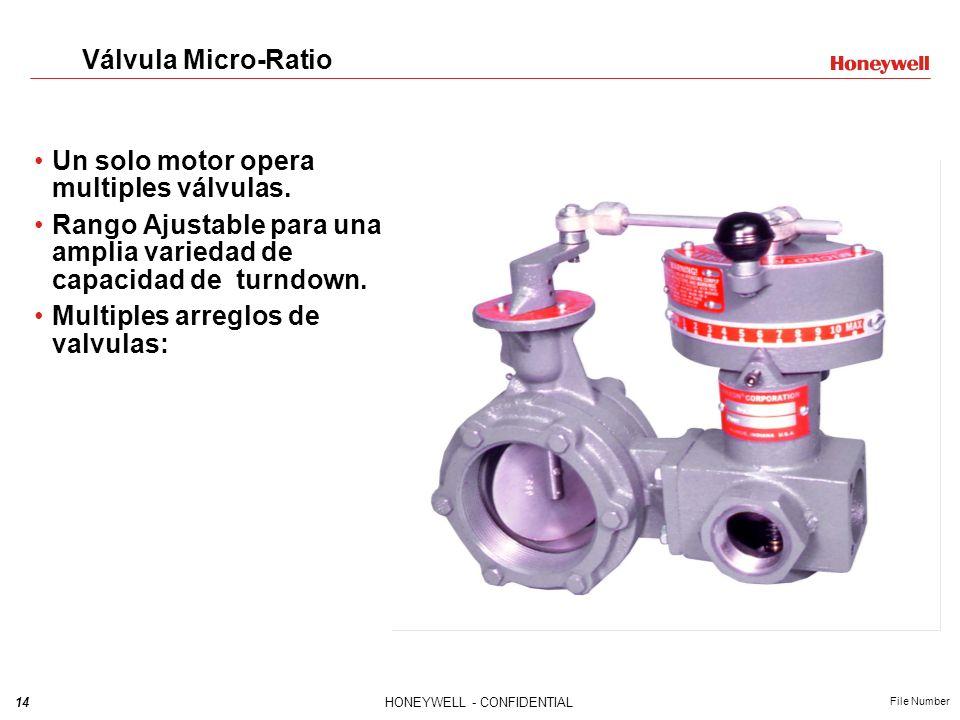 14HONEYWELL - CONFIDENTIAL File Number Válvula Micro-Ratio Un solo motor opera multiples válvulas. Rango Ajustable para una amplia variedad de capacid
