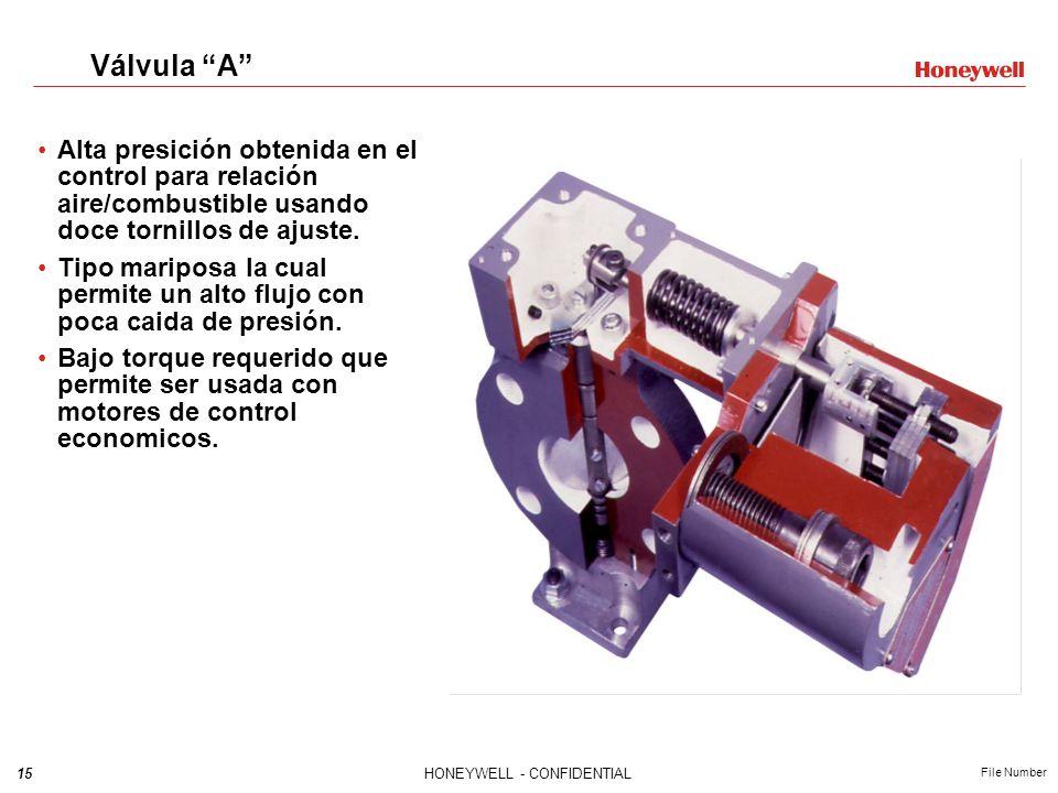 15HONEYWELL - CONFIDENTIAL File Number Válvula A Alta presición obtenida en el control para relación aire/combustible usando doce tornillos de ajuste.