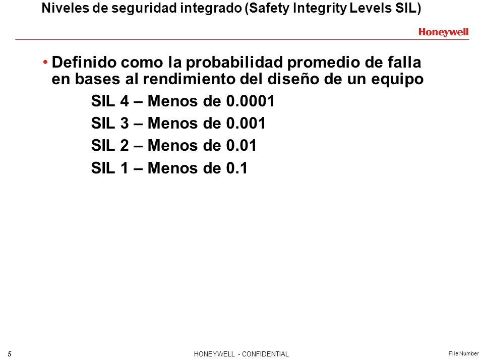 5HONEYWELL - CONFIDENTIAL File Number Niveles de seguridad integrado (Safety Integrity Levels SIL) Definido como la probabilidad promedio de falla en