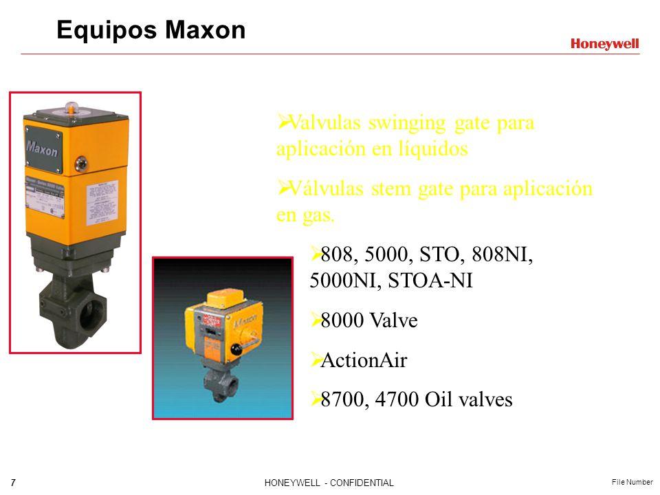 7HONEYWELL - CONFIDENTIAL File Number Equipos Maxon Valvulas swinging gate para aplicación en líquidos Válvulas stem gate para aplicación en gas. 808,
