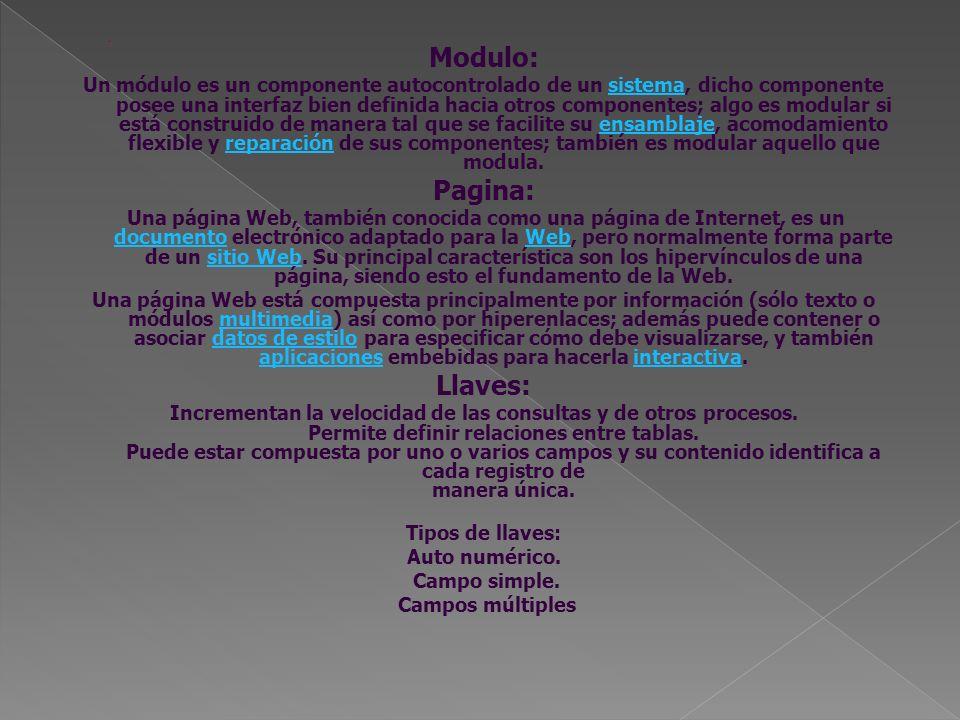 Modulo: Un módulo es un componente autocontrolado de un sistema, dicho componente posee una interfaz bien definida hacia otros componentes; algo es mo