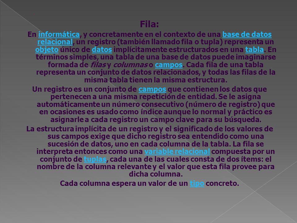 Fila: En informática, y concretamente en el contexto de una base de datos relacional, un registro (también llamado fila o tupla) representa un objeto