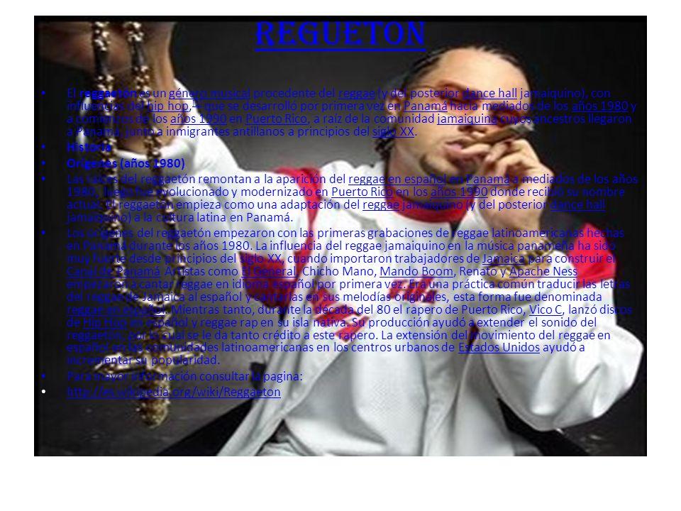 REGUETON El reggaetón es un género musical procedente del reggae (y del posterior dance hall jamaiquino), con influencias del hip hop, [1] que se desarrolló por primera vez en Panamá hacia mediados de los años 1980 y a comienzos de los años 1990 en Puerto Rico, a raíz de la comunidad jamaiquina cuyos ancestros llegaron a Panamá, junto a inmigrantes antillanos a principios del siglo XX.género musicalreggaedance hallhip hop [1]Panamáaños 1980años 1990Puerto Ricojamaiquinasiglo XX Historia Orígenes (años 1980) Las raíces del reggaetón remontan a la aparición del reggae en español en Panamá a mediados de los años 1980, luego fue evolucionado y modernizado en Puerto Rico en los años 1990 donde recibió su nombre actual.