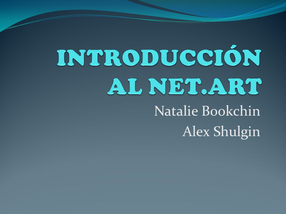 Natalie Bookchin Alex Shulgin