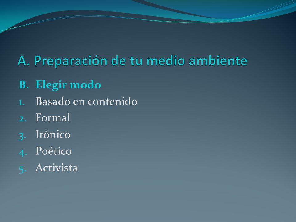 B. Elegir modo 1. Basado en contenido 2. Formal 3. Irónico 4. Poético 5. Activista