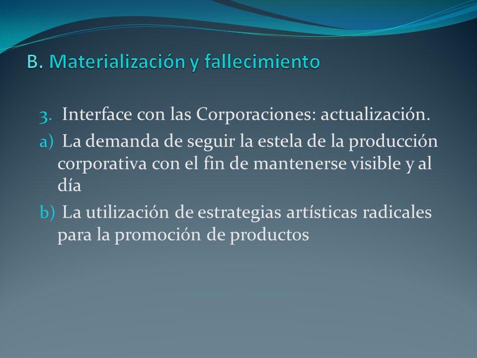 3. Interface con las Corporaciones: actualización. a) La demanda de seguir la estela de la producción corporativa con el fin de mantenerse visible y a