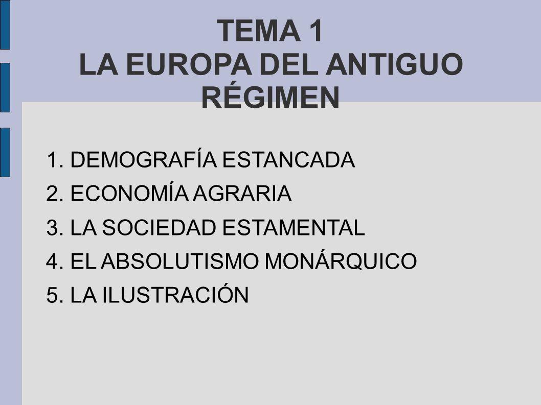 TEMA 1 LA EUROPA DEL ANTIGUO RÉGIMEN 1.DEMOGRAFÍA ESTANCADA 2.