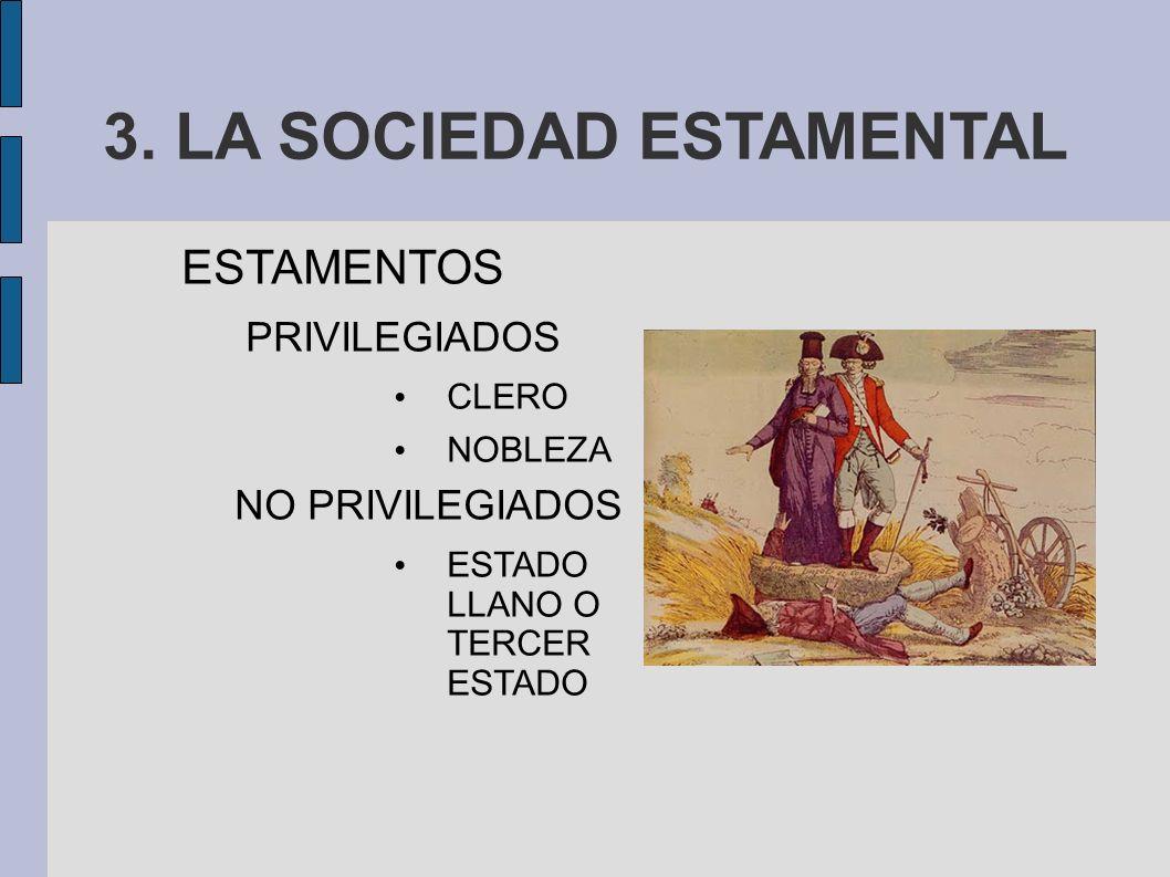 3. LA SOCIEDAD ESTAMENTAL ESTAMENTOS PRIVILEGIADOS CLERO NOBLEZA NO PRIVILEGIADOS ESTADO LLANO O TERCER ESTADO